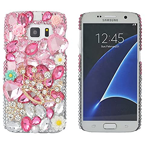 Spritech(TM) Bling Hard Clear Phone Case For Samsung Galaxy S7,3D Handmade Pink Crystal Crown Flower Pattern Design Cellphone Cover