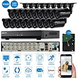 KKmoon 1TB HDD 16CH Outdoor CCTV Camera Systems;16*Outdoor Surveillance CCTV Bullet Cameras with 1TB Hard Drive; 16Channel Full 960H/D1 800TVL Night