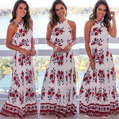 Maxikleid, iHee Damen Sommer Halfter Ansatz Sleeveless Blumen Gedrucktes Floor-Length Langes Maxi Kleid Weiß