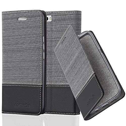Cadorabo Hülle für Honor 6 Plus - Hülle in GRAU SCHWARZ – Handyhülle mit Standfunktion und Kartenfach im Stoff Design - Case Cover Schutzhülle Etui Tasche Book