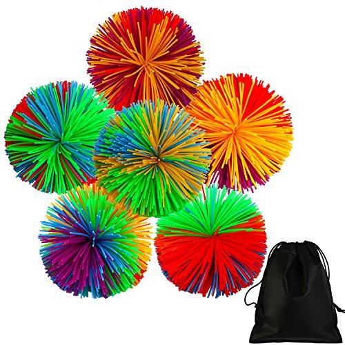 Anexo 6 Piezas Monkey Stringy Balls Juguete Sensorial Stress Bolas Arco Iris Pom Ball Juguetes Activos con Bolsa de Cordon