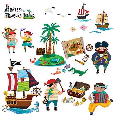 Decowall DW-1310, piratas y tesoro cáscara y etiquetas de la pared del cuarto de niños del palillo pegatinas