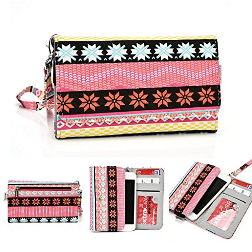 Kroo Handy, der Wristlet Ledertasche mit Kreditkarte Halter passt für Oppo R819/Find 5Mini mehrfarbig rose