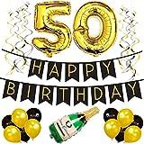 50. Happy Birthday Girlande – Schwarz & Gold Deko Geburtstag, Luftballons, Pom Poms und Spiralgirlande Silber – Party Zubehör