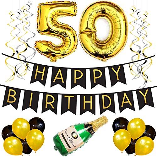 Sterling James Co. 50. Geburtstagsfeier-Satz - Schwarzes U. Gold Geburtstag Bunting, Poms Und Strudel Pack- Geburtstags-Dekorationen - 50. (Dekorationen Party Elmo)