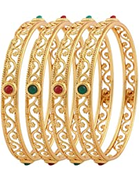 Jewels Galaxy Exclusive Gold Plated Circular Shaped Red Green Stone Bangles For Women - Set Of 4