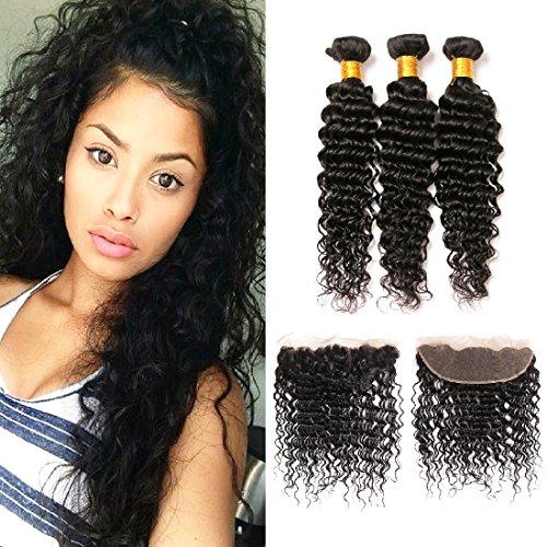 tissage bresilien lot de 3 avec closure lace frontal with deep wave hair extensions 3 bundles human naturel lisse paquets(12 14 16 &10)