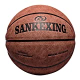aaerp 1 x OFFICIAL Size 7 Leather Basketball Indoor Outdoor Anti-Slip Sports Ball, Rot braun, size 7 basketball (standard ball)