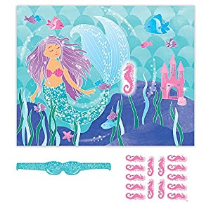 Unique Party- Mermaid Party Game Juego Fiesta Sirena Para 14, Multicolor (58329)