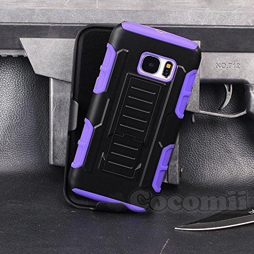 Cocomii Robot Armor Galaxy S7 Edge Hülle [Strapazierfähig] Gürtelclip Ständer Stoßfest Gehäuse [Militärisch Verteidiger] Ganzkörper Case Schutzhülle for Samsung Galaxy S7 Edge (R.Purple) -