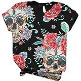 Subfamily Casual T-Shirt da Donna con Stampa Animalier 3D da Donna, Girocollo, Maniche Corte, per t-Shirt Oversize all-Match,