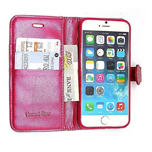 iPhone 7 Hülle , Kamal Star® PU Leder Flip Case Schutzhülle + Stylus Rose Pink Diamond Book