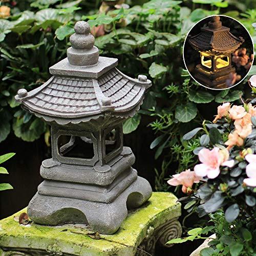 En Plein Air Style Japonais Solaire Zen Jardin Lumières Lanterne Pagode Lumière Solaire Jardin Lampe Statue FermeBalcon Creative Décoration Lampe -17 * 34 Cm Grey