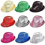 Adulte / Enfants coloré Sequin De Fedora Pare-choc Pack De Fête of 6 or 12 - 6 Chapeaux, Taille Unique
