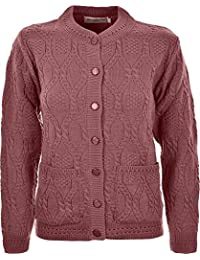 5c21a41df9 Miss Trendy Womens Ladies Knitted Crew Neck Pocket Front Button Up Aran  Cardigan UK 10-
