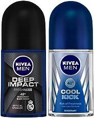 NIVEA MEN Deodorant Roll-on, Deep Impact Freshness, 50ml and Nivea Deodrant Roll On, Cool Kick, 50ml