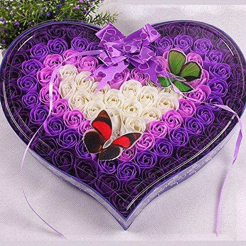 Popowbe 100Stück/Set Home Decra Bad Duft Gäste Seife Blume geformte Rosenblätter für Valentinstag Deko Blumen violett (Bath Rose Set Scented)