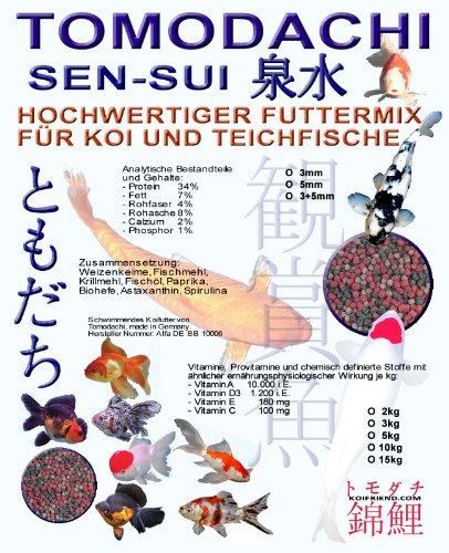 Koimix, Premium Koifuttermischung, 4 Color, Rot-Grün-Weiß-Braun, Teichfuttermix mit Spirulina, Astax, Paprika und Krillmehl, Tomodachi Sen-Sui Koifutter- und Teich-Mix, 15kg (5mm Pelletgröße)