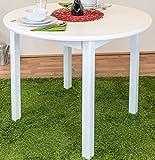 Tisch Kiefer massiv Vollholz weiß Junco 235A (rund) - Durchmesser 100 cm