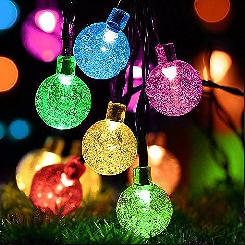 LED Lichterkette Solar, Vitutech Solar Lichterkette Garten Lichterkette Außen Kristall Solar Kugel Beleuchtung für Party, Outdoor, Fest Deko usw - Mehrfarbig