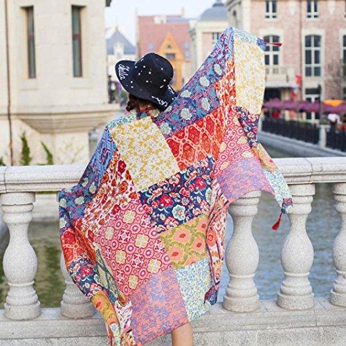 Transer ® Femelle Écharpes, Ladies Hot Ethnic style Echarpe Beach Head Sarong Wrap Châle coton élégante écharpe Blend Multicolor Multicolore