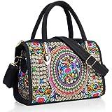 surrylake Bunte Rucksäcke Vintage Stickerei Handtaschen Canvas Schultertasche Reisetasche für Frauen Mädchen