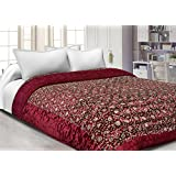 JaipurFabric Silk Floral Print Double Quilt (Maroon Base Golden, King)