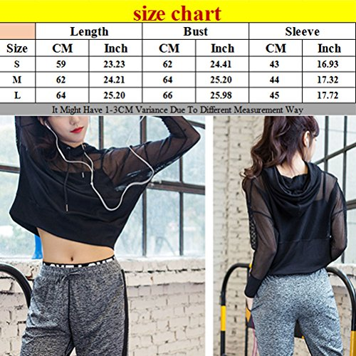 Zhhlinyuan Fashion Loose Hooded Tops Women's Black Yoga Sports Fitness Outwear MS02 Black