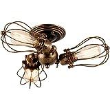 GLADFRESIT Lampa sufitowa w stylu vintage, regulowana, metalowa lampa w stylu retro, lampa sufitowa z oleju, brązowa, do sypi