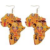 "Large Lightweight African Motif Drop Earrings [3""]"