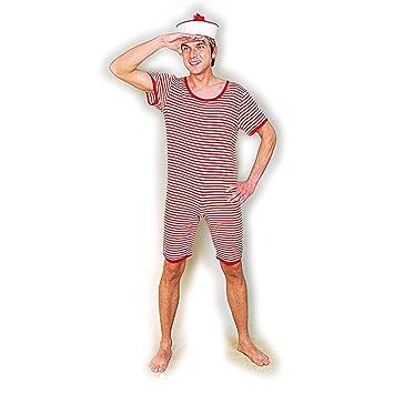 monopezzo uomo stile marinaio costume da bagno retro rosso bianco l 5254 completo da spiaggia per uomo retro look anni 20 e 30 tenuta da bagno alla