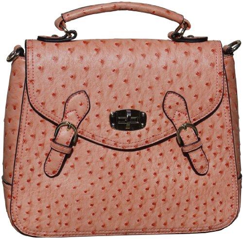 Gabriella Orange structuré autruche Faux cuir enveloppe Style tour Lock Grab sac à main ou sac à bandoulière avec métal doré