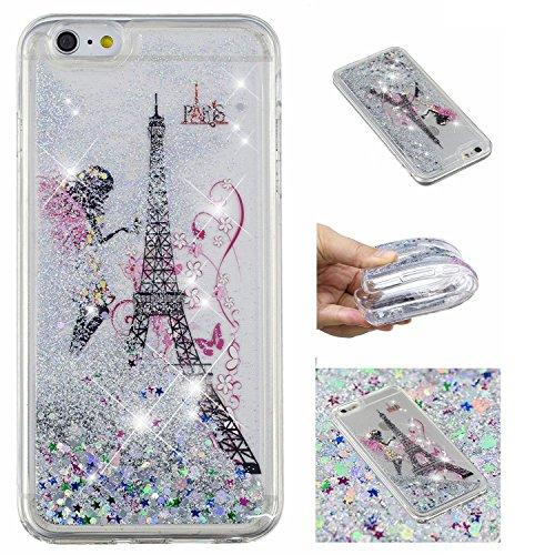 üssigkeit Hülle für iPhone 6S Plus/iPhone 6 Plus,Mädchen Turm kreativ 3D Gemalt Muster Handyhülle,Bling Treibsand Liebe Herz Fließend Weich TPU Schutzhülle ()
