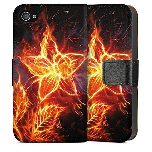 Apple iPhone 5s Housse Étui Protection Coque Feu Feu Fleur Sideflip Sac
