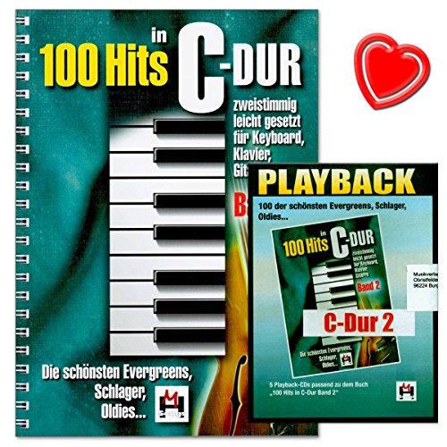 100 Hits in C-Dur Band 2 - schönsten Evergreens, Schlager, Oldies - leicht gesetzt für Keyboard, Klavier, Gitarre - mit 5 Playback-CDs und herzförmiger Notenklammer