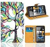 HTC One M7 Handy Tasche, FoneExpert Wallet Case Flip Cover Hüllen Etui Ledertasche Lederhülle Premium Schutzhülle für HTC One M7