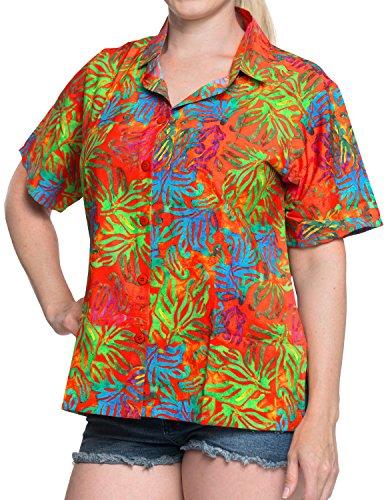 La Leela Hawaii-Hemd Blusen-Taste Nach Unten Entspannt Fit Frauen mit Kurzen Ärmeln Lager Multi l (Shirt Strand-taste Nach Unten)