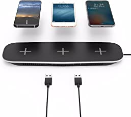 Techzere® 3-in-1 Qi Fast Wireless Charger for iPhone X / 8/8 Plus, Samsung Galaxy note8 / S9/ S9 Plus/ S8 / S8 Plus / S7 / S7 Edge / S6 Edge and All Qi-Enabled Devices (Black)