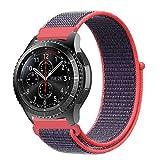 Fintie Bracelet pour Samsung Galaxy/Gear S3 Frontier/Gear S3 Classic/Huawei Watch GT Sport Smartwatch - Bande de Remplacement Ajustable en Nylon Tissé (Small, Electric Pink)