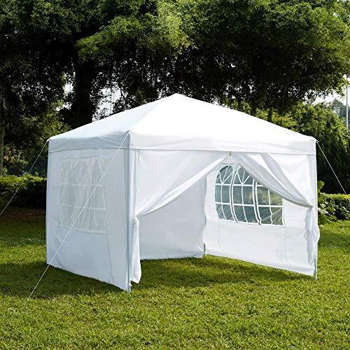 Garden Vida Pop-Up-Pavillon mit Seitenwänden, 2,5 x 2,5 m, mit Reißverschluss, Partyzelt für den Außenbereich, wasserfest, mit Windleisten, Gewichtstaschen und Tragetasche, Weiß