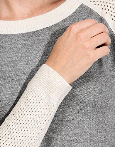 Vincenzo Boretti Damen Pullover Rundhals Ausschnitt R-Neck modern elegant chick edel weich Strick-Pullover Ärmel in farblich abgesetztem Lochmuster Grau