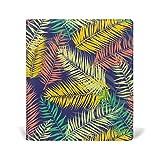 COOSUN Wohnung Art Palm verlässt Muster Buch Sox dehnbare Buchdeckel, geeignet für die meisten Hardcover Lehrbücher bis zu 9 x 11. leimlose, PU-Leder-Schule-Buch-Schutz 9-x-11-Zoll mehrfarbig