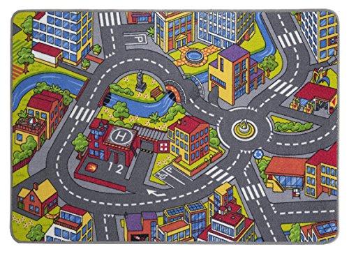 misento Kinderteppich Spielteppich Straßenteppich Spielmatte Kleinstadt Auto Teppich Kinderzimmer Spielunterlage Verkehrs Teppich für Fußbodenheizung geeignet allergikergeeignet schadstofffrei (Straße Auto)