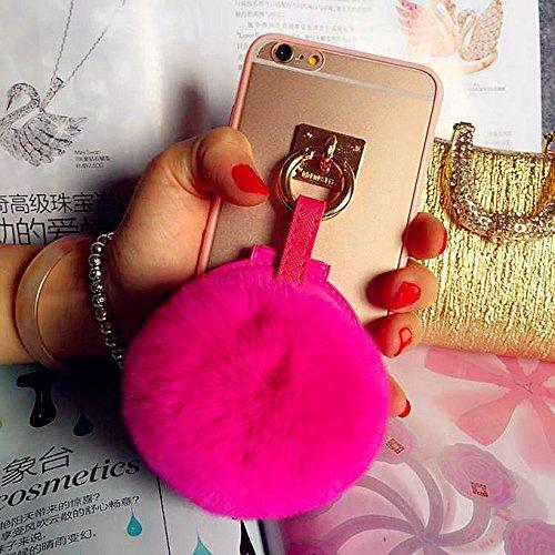 Coque iPhone 6/6s , iNenk® TPU souple Transparent luxe affaire téléphone Shell protecteur miroir lapin fourrure Ball couverture Mode créatif pour femmes-bleu Roserouge