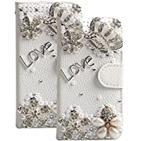 iPhone 6 Case, iPhone 6s Case 4.7'', TechCode Bling Crystal Crown Rhinestone Flower Pearl Diamond Design Sparkle Glitter Wallet Flip Case Cover for iPhone 6/6s 4.7 inch (iPhone 6/6S)