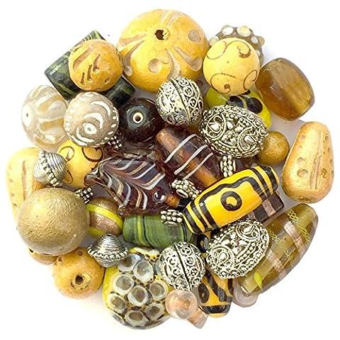 Mixed Pack of Handmade Yellow Jewellery Making Beads