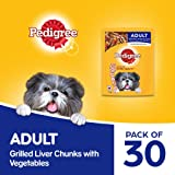 Pedigree Adult Wet Dog Food, Grilled Liver Chunks Flavour in Gravy with Vegetables, 30 Pouches (30 X 70g)