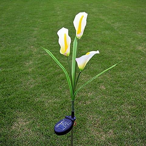 3 LED Fleur Solaire Calla Lily Pelouse Cour Lampe Jardin Noël Extérieur Décoration