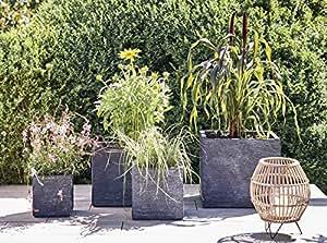 mygardenlust blumentopf in grau pflanzk bel aus fiberglas blumenk bel f r indoor outdoor. Black Bedroom Furniture Sets. Home Design Ideas