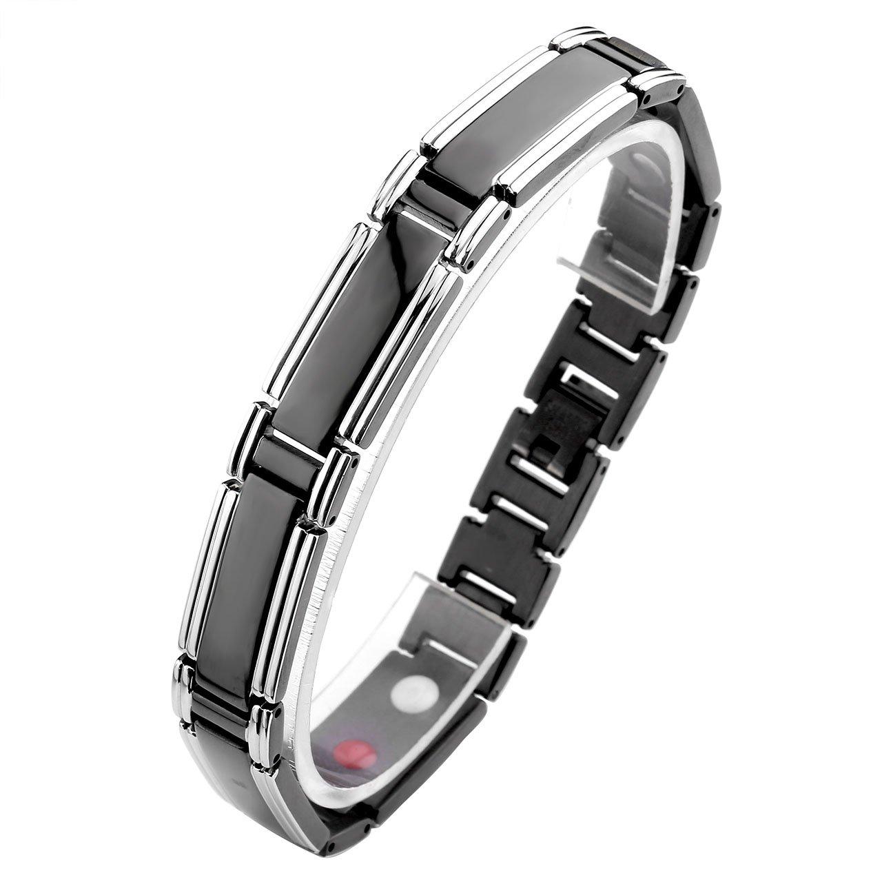 Zysta Schmuck Herren Magnetarmband Titan magnetische Armband Magnet Partnerarmbänder aus Edeltahl Rechteck Form (Farbe:Schwarz)